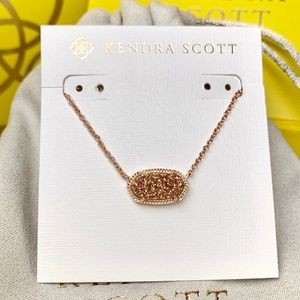 New Kendra Scott Elisa Rose Gold Drusy Necklace